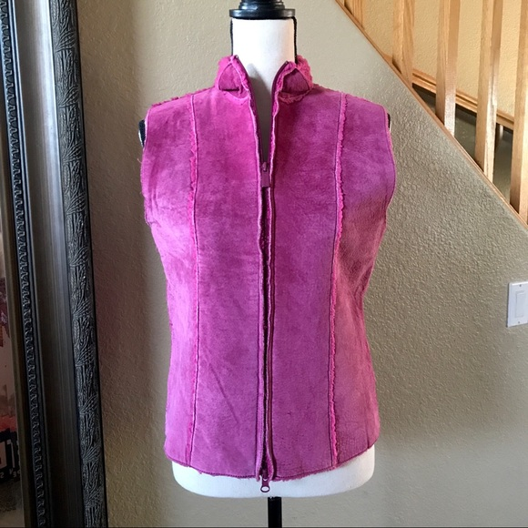 Express Jackets & Blazers - Express Pink Leather Suede Vest
